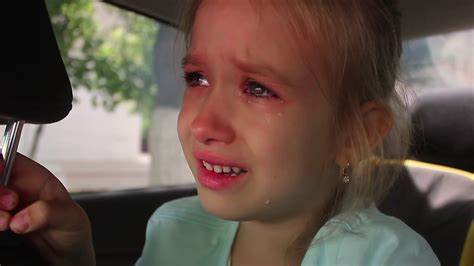 Portrait of a cute little girl crying Stock Video Footage ...