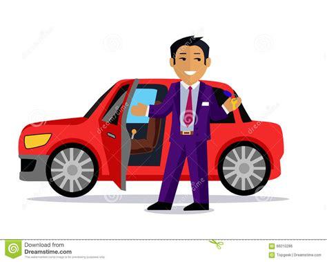 Illustration Of Man Buys A New Car Vector Illustration