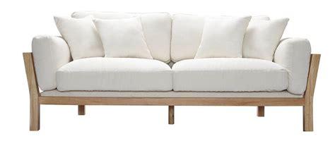 canapé déhoussable canapé design 3 places déhoussable blanc crême pieds bois