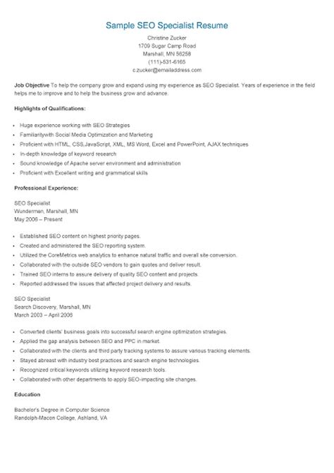 Ppc Specialist Resume by Resume Sles Sle Seo Specialist Resume