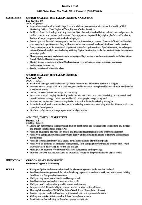 Analyst, Digital Marketing Resume Samples | Velvet Jobs