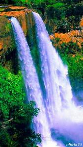Flowing Waterfall nature waterfall animated cliff river ...