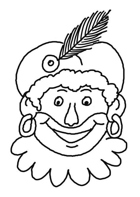 Zwarte Piet Gezicht Kleurplaat by Sint En Piet Kleurplaten