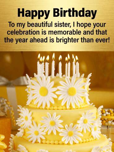 fancy cake   sweet sister happy birthday card