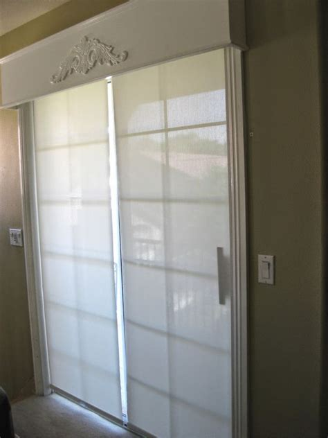 sliding glass door douglas shades and wood cornice