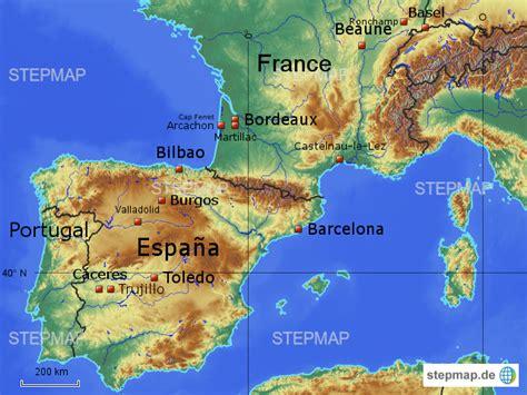 stepmap spanienfrankreich landkarte fuer spanien
