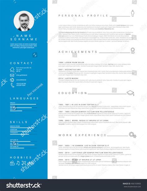 vector minimalist cv resume template stock vector