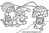 Igloo Coloring Pages Drawing sketch template