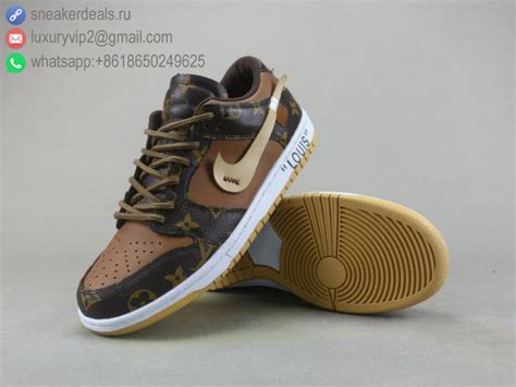 LV X NIKE SB ZOOM DUNK LOW PRO BROWN LEATHER MEN SHOES ...