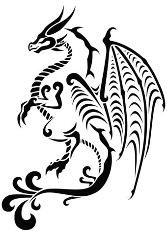 dragon tattoo coloring page  printable coloring pages