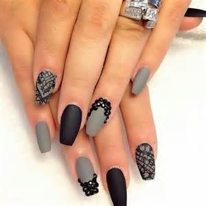 Black fashion grey nail art nails pretty new