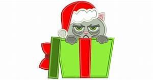 Cowboy Applique Designs Grumpy Cat Inside A Gift Box Christmas Applique Machine