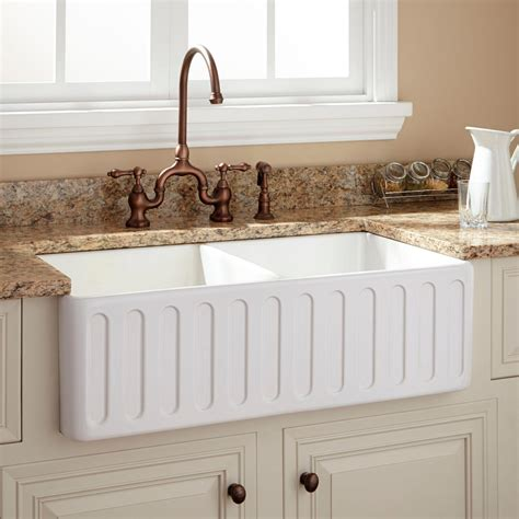 white fireclay farmhouse sink 33 quot northing double bowl fireclay farmhouse sink with