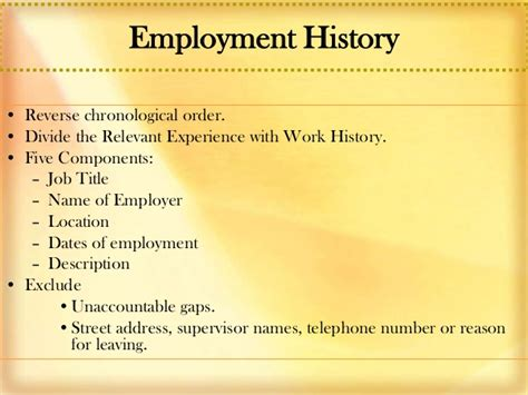 resume history order