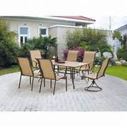 Garden Dining Sets Asda by Mainstays York 7 Piece Patio Garden Furniture Dining Set Seats 6 EBay