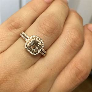 14k rose gold 1ct brown asscher diamond engagement ring With where to buy wedding rings