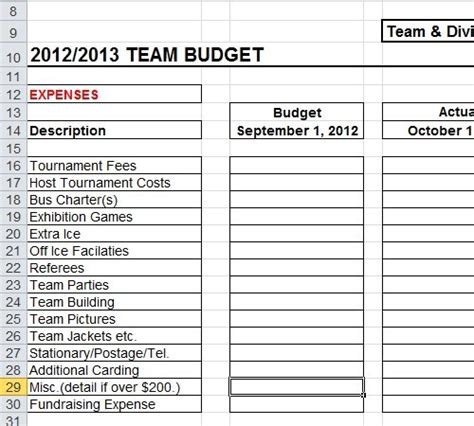 sports team budget template spreadsheet