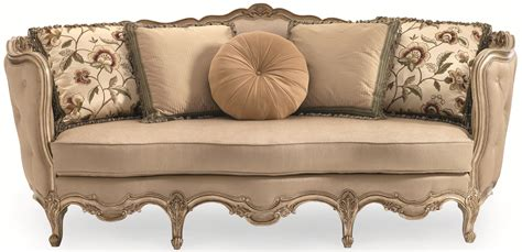 schnadig florence exposed wood sofa with button tufted back and carving details jacksonville