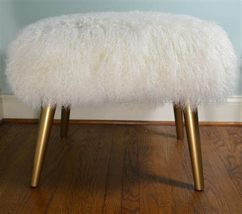 Bench Footstool real mongolian bench stool gold wood legs with