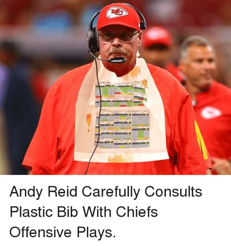 Andy Reid Meme - otgun trips normal andy reid carefully consults plastic bib with chiefs offensive plays andy