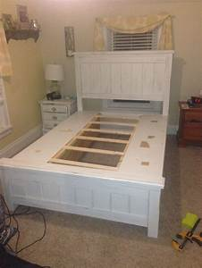 size farmhouse bed with storage white