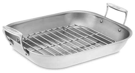 baking pan rack all clad stainless steel flared roasters traditional