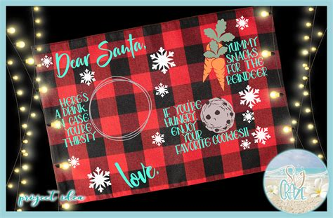 dear santa cookies snacks  reindeer rectangle tray placemat design svg sofontsy