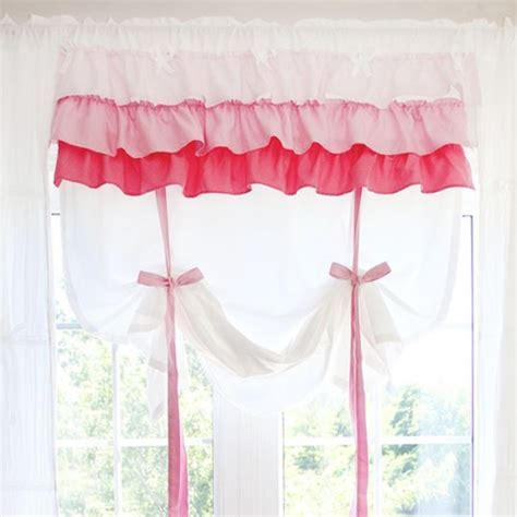 shabby chic white ruffled tie up shade