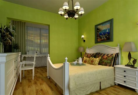 Bedroom Green Walls With White Furniture