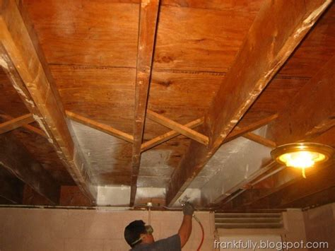 beginning to paint the basement ceiling with wagner paint sprayer basement refinishing