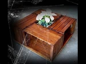 Tavolino con 4 cassette in legno TUTORIAL Musica Movil