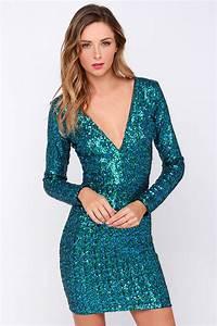 Dress The Population Bridget Blue Sequin Dress Green