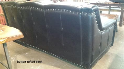 Chisolm Top Grain Leather Sofa In Bison Black Made In Usa