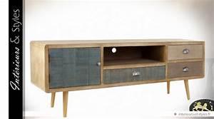 Meuble Scandinave Vintage : meuble tv style scandinave vintage patine multicolore int rieurs styles ~ Teatrodelosmanantiales.com Idées de Décoration
