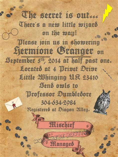 Harry Potter Baby Shower Invitations - personalized harry potter baby shower set printable digital