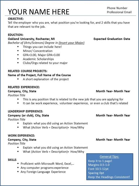 Resume Skeleton oucareers oakland career services page 28
