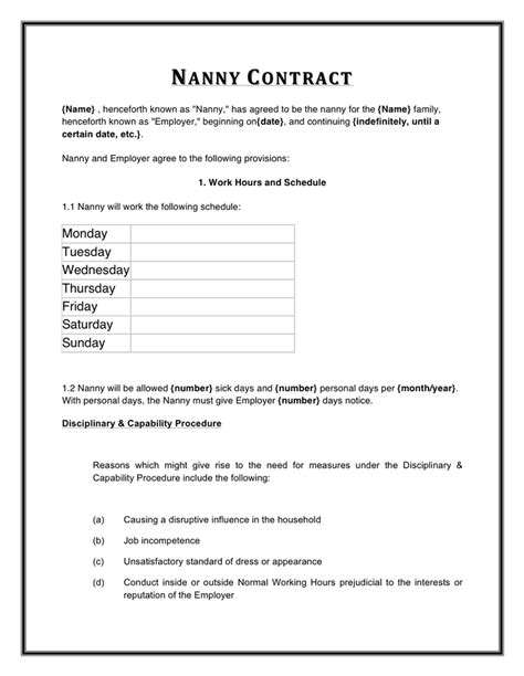 Nanny Contract Template Word by Nanny Contract Template In Word And Pdf Formats