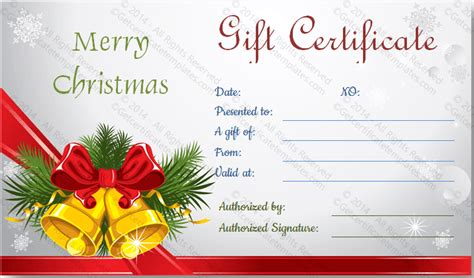 christmas bells gift certificate template