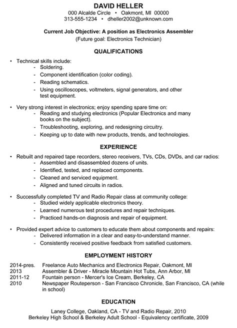 Electronic Assembler Resume Template by Resume Sle Electronics Assembler