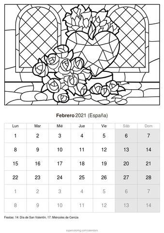 calendario  imprimir  colorear febrero