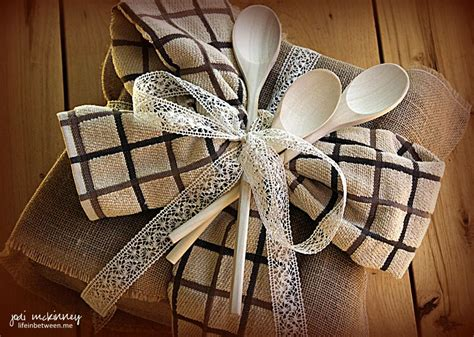 Kitchen Tea Gift Wrapping Ideas by Bridal Shower Gift Wrap Burlap Lace Kitchen Towels Wooden