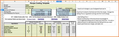 recipe cost spreadsheet excel spreadsheets group