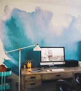 1001 idees pour votre peinture murale originale With peindre un mur en bois