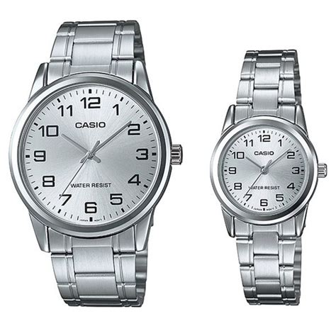 casio mtp v001d 7budf casio his silver stainless steel band