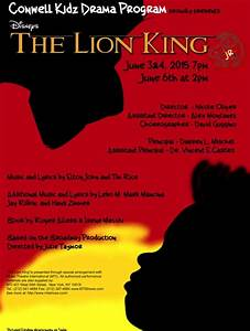 The Lion King Jr At Conwell Kidz Drama Program Performances June 3 2015 To June 6 2015 Cover