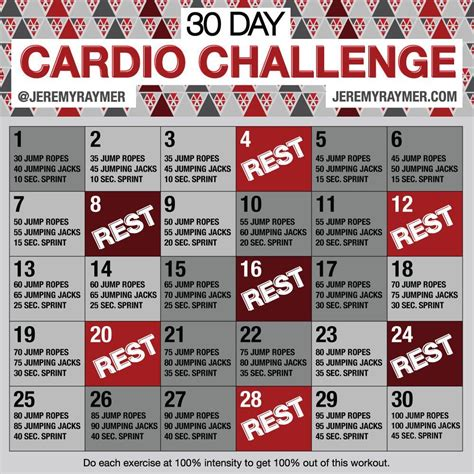 day cardio challenge  images  day cardio