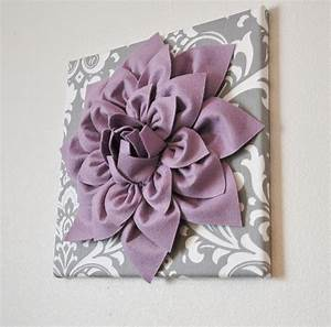 Wall art lilac purple dahlia on gray and white damask 12 for Purple wall decor