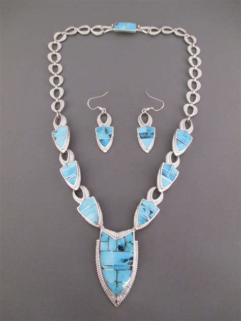 Turquoise Inlay Necklace/Earring Set - Turquoise Jewelry ...