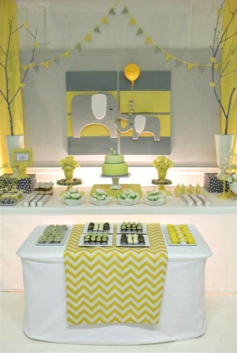 Elephant Baby Shower Supplies - yellow gray chevron baby shower ideas elephant theme