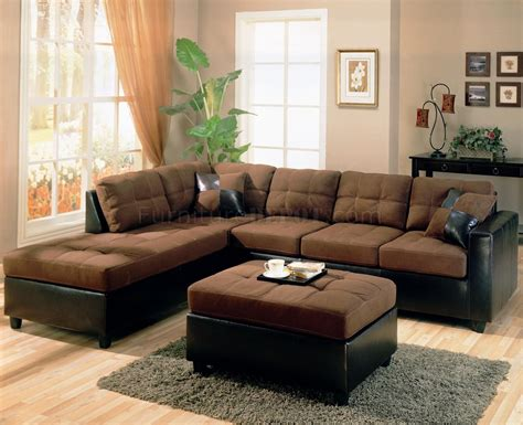 Twotone Modern Sectional Sofa 500655 Chocolatedark Brown